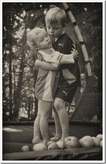 Siblings hug love